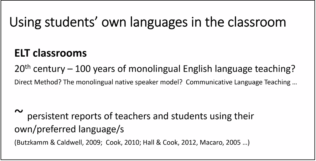 Using students' own languages in the classroom from Constant Leung